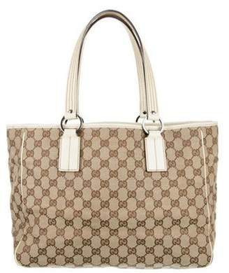 Gucci GG Leather-Trimmed Canvas Tote Brown GG Leather-Trimmed Canvas Tote
