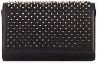 Christian Louboutin Paloma Fold-Over Spike Clutch Bag, Black