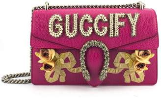 """Gucci Pink Leather Small Shoulder Bag With """"guccify"""" Applique'"""
