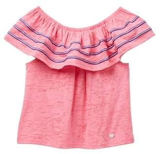 Bebe Burnout Knit Ruffle Top (Big Girls)
