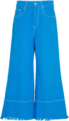 MSGM Solid Color Bull Denim Culotte Jeans