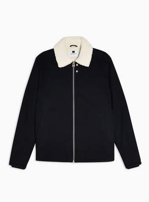 Topman Mens Navy Borg Lined Coach Jacket