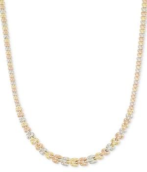 Italian Gold Tri-Tone Graduated Link Necklace in 14k Tri-Color Gold