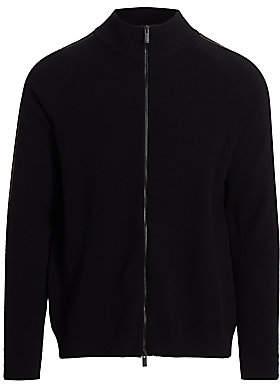 Fendi Men's Logo Tape Full-Zip Wool Sweater