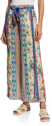 Johnny Was Farrah Floral Print Tie-Front Wide-Leg Georgette Pants