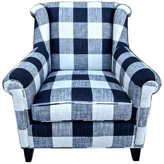 One Kings Lane Vintage Black & White Buffalo Plaid Club Chair