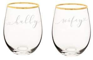 Cathy's Concepts Wedding Set of Two Hubby and Wifey Gold Rim Stemless Wine Glasses