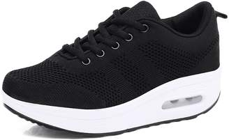 Camilla And Marc Tlingit Womens Ladies Platform Shoes Mesh Wedge Sports Sneakers Lace up Air Cushion Thick Sole 5 cm Walking Jogging Outdoor Gym Pumps Athletic White 37