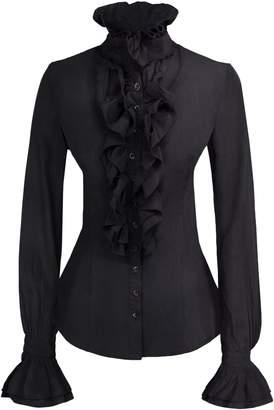 d647b27f1897c7 Kate Kasin Women Lolita Stand-up Collar Lotus Ruffle Shirt Retro Victorian  Blouse KK000271-