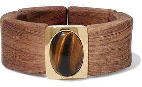 Kenneth Jay Lane Gold Tone Wood And Stone Bracelet