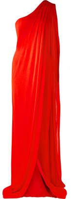 Tom Ford One-shoulder Draped Jersey Gown - Red