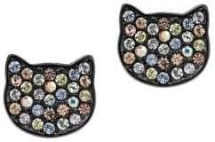 Karl Lagerfeld Sil Choupette Crystal Multicolored Stud Earrings