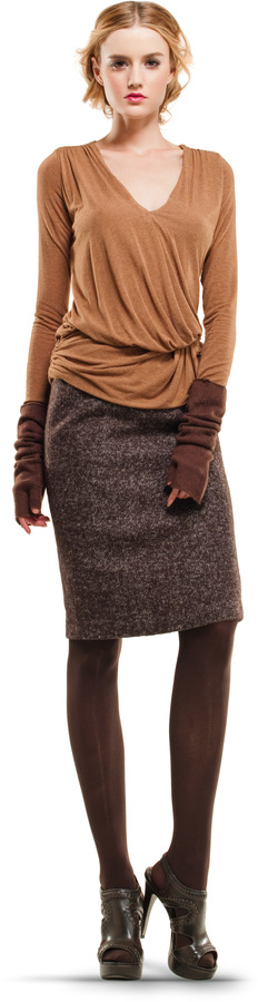 Heathered Wool Tweed Pencil Skirt