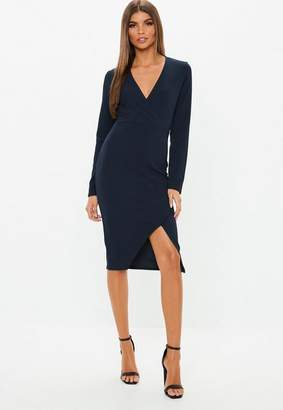 Missguided Navy Long Sleeve Wrap Midi Dress