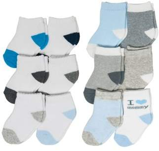 Carter's Child of Mine by Fashion Sock Set, I Love Mommy and Low Cut, 12 Pack (Baby Boys)