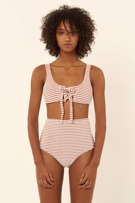 Mara Hoffman Terry Lace Up Front Tank Bikini Top