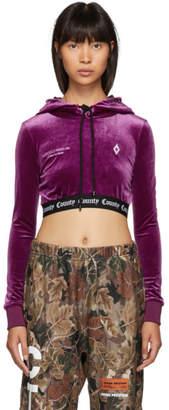 Marcelo Burlon County of Milan Purple Velvet Logo Hoodie