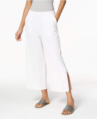 Eileen Fisher Tencel Crepe Pull-On Cropped Side-Slit Pants, Regular & Petite