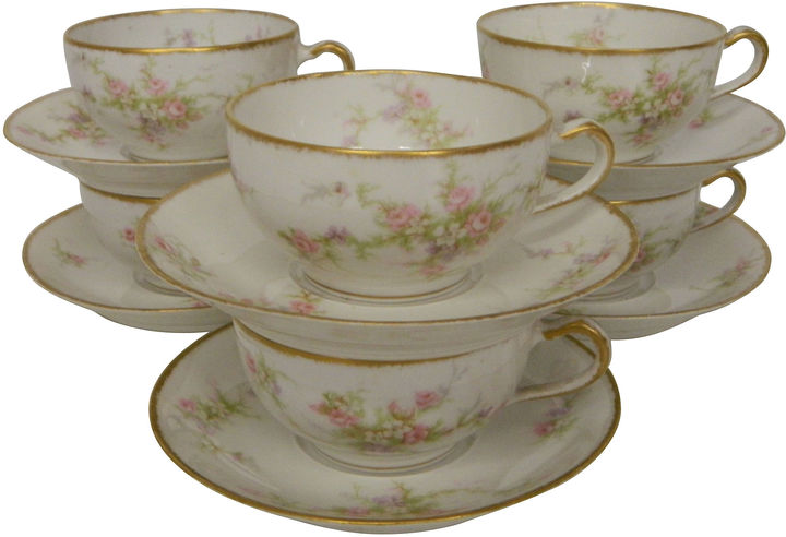 One Kings Lane Vintage Antique Haviland Limoges Teacups, S/6