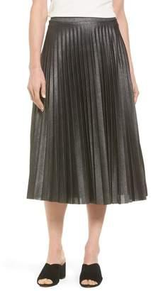 Halogen Metallic Pleat Midi Skirt (Regular & Petite)