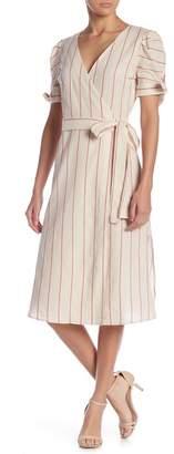 Moon River Short Sleeve Stripe Print Wrap Dress