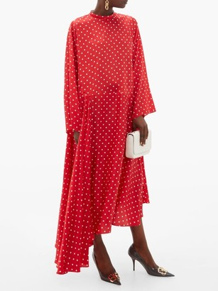Balenciaga Typo Polka Dot Print Silk Jacquard Midi Dress - Womens - Red Multi