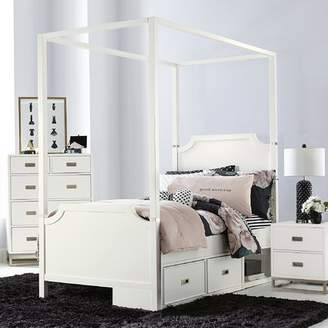 Harriet Bee Jereme Canopy Panel Bed with Storage Drawer Unit, Soft White