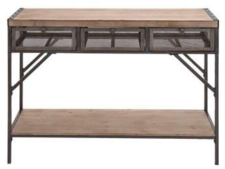 DecMode 43'' Metal & Wood Console Table with Metal Mesh Screen Drawers