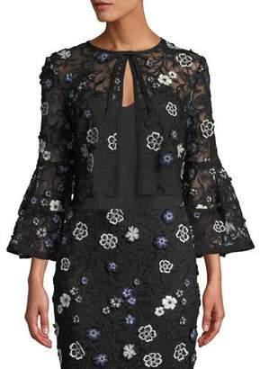 Lela Rose Full-Sleeve Tie-Neck Floral-Lace Cocktail Bolero Jacket