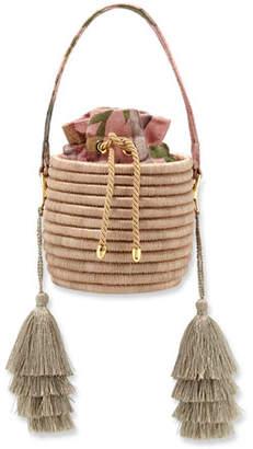 Maison Alma Monochrome Woven Straw Bucket Bag with Metallic Tassels