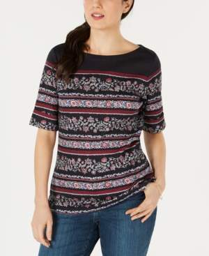 Karen Scott Printed Boat-Neck T-Shirt, Created for Macy's