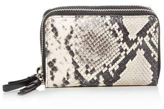 AllSaints Snake-Embossed Leather Card Case