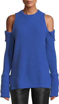 Tre By Natalie Ratabesi Crewneck Zip-Off Cold-Shoulder Ribbed Cashmere Pullover Sweater