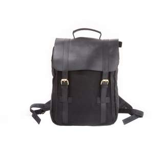 EAZO - Waxed Canvas and Leather Backpack in Black