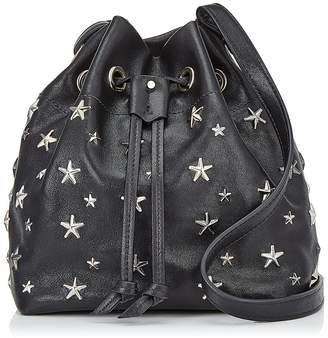 Jimmy Choo JUNO Black and Metallic Leather Drawstring Bag with Multimetal Star Detailing