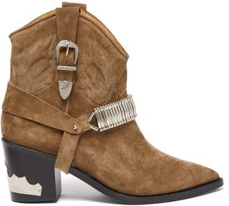 Toga Buckle Suede Ankle Boots - Womens - Tan
