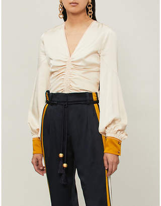 Peter Pilotto Ruched silk-satin blouse