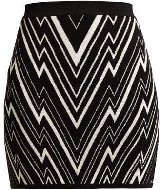 Balmain Zigzag Knit Mini Skirt - Womens - Black White