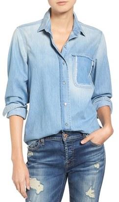 Women's 7 For All Mankind Torn Pocket Denim Boyfriend Shirt $179 thestylecure.com