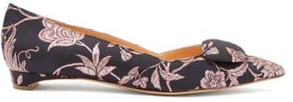 Rupert Sanderson Aga Point Toe Brocade Leather Flats - Womens - Black Pink