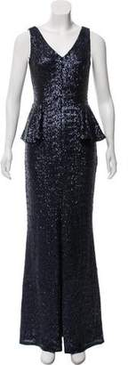 Carmen Marc Valvo Sleeveless Sequin Gown
