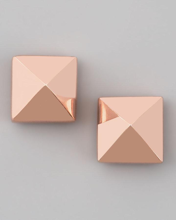 Eddie Borgo Pyramid Stud Earrings, Rose Gold
