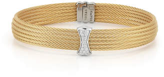 Alor Classique Multi-Row Bangle w/ White Diamond Pave, Golden