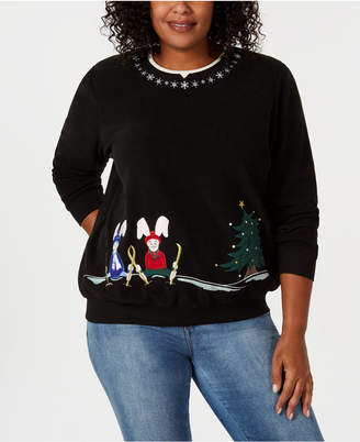 Alfred Dunner Plus Size Classics Snow Bunnies Sweatshirt