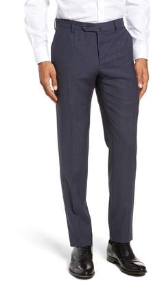 Incotex Flat Front Solid Wool Trousers