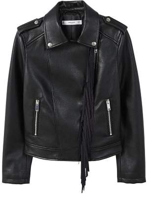 MANGO Fringe biker jacket