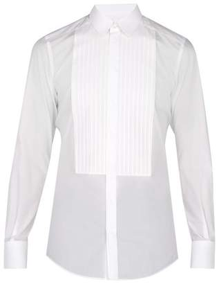 Dolce & Gabbana Johnny Pleated Cotton Dress Shirt - Mens - White