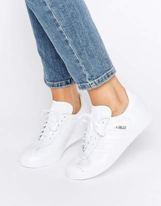 9c058c4ecc6 adidas All White Leather Gazelle Unisex Trainers