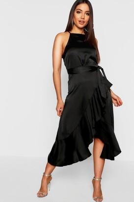 boohoo Satin Frill Wrap Midi Dress