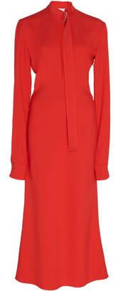 Victoria Beckham Buckled Collar Crepe Midi Dress